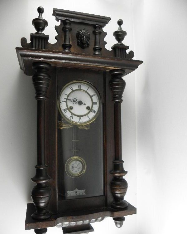 alter regulator wanduhr pendeluhr uhr wand wandpendeluhr pendel holz d r p r a ebay. Black Bedroom Furniture Sets. Home Design Ideas