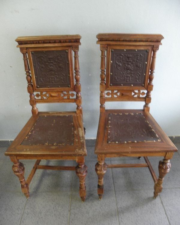 2 alte st hle esszimmerst hle holz holzst hle gr nderzeit ca um 1920 ebay. Black Bedroom Furniture Sets. Home Design Ideas