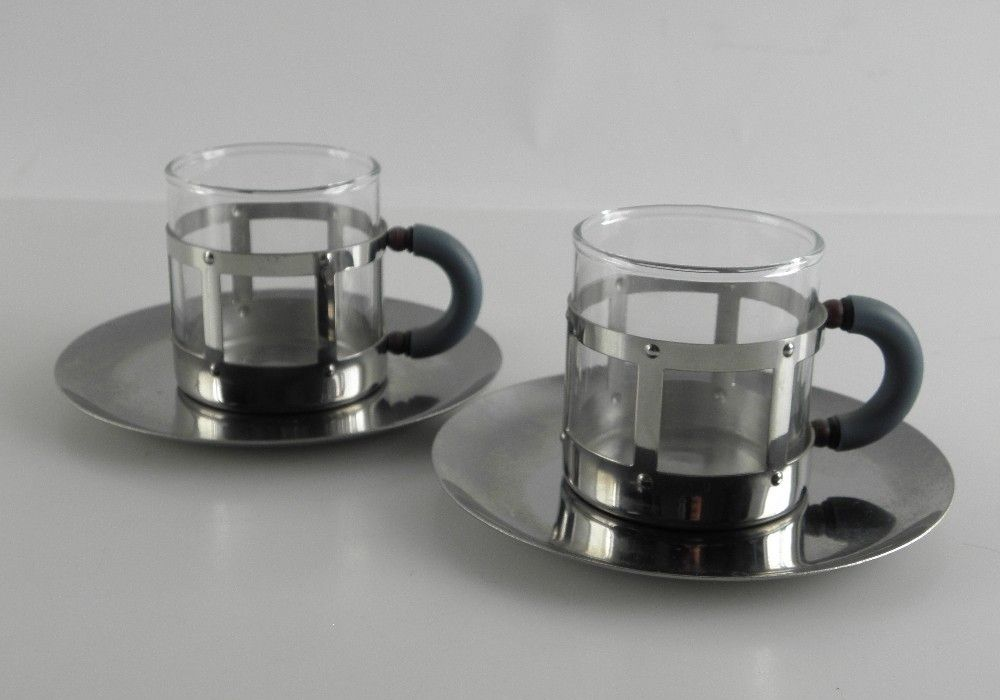 2 x alessi mgdt espresso tassen 4 tlg set graves michael wie neu ebay. Black Bedroom Furniture Sets. Home Design Ideas