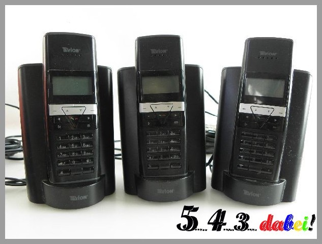 tevion md 82200 isdn telefon schnurlos schwarz 3 stck ebay. Black Bedroom Furniture Sets. Home Design Ideas